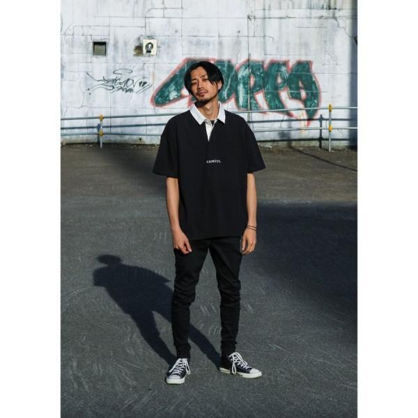 ラガーシャツ メンズ シャツ カジュアルシャツ 半袖 ポロシャツ スポーツ スポーティ ロゴ 刺繍 ビッグシルエット KANGOL ファッション (kgsa-zi1912) D|zip|12