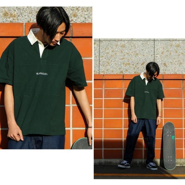 ラガーシャツ メンズ シャツ カジュアルシャツ 半袖 ポロシャツ スポーツ スポーティ ロゴ 刺繍 ビッグシルエット KANGOL ファッション (kgsa-zi1912) D|zip|07