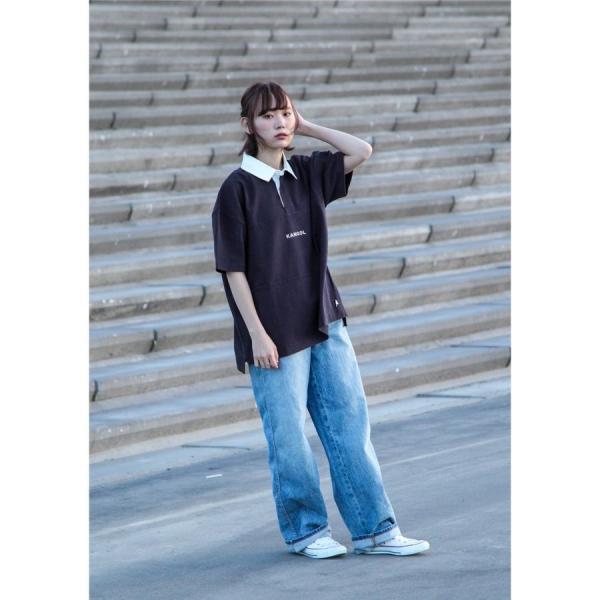 ラガーシャツ メンズ シャツ カジュアルシャツ 半袖 ポロシャツ スポーツ スポーティ ロゴ 刺繍 ビッグシルエット KANGOL ファッション (kgsa-zi1912) D|zip|09