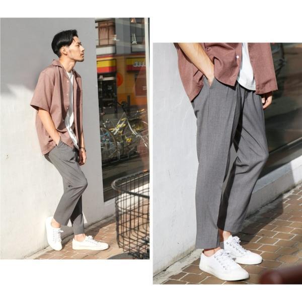 イージーパンツ メンズ アンクルパンツ スラックス 半端丈 ロングパンツ ストレッチ 無地 チェック ファッション (zp081829) D|zip|12