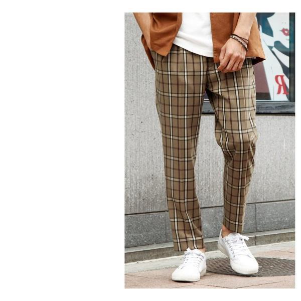 イージーパンツ メンズ アンクルパンツ スラックス 半端丈 ロングパンツ ストレッチ 無地 チェック ファッション (zp081829) D|zip|16
