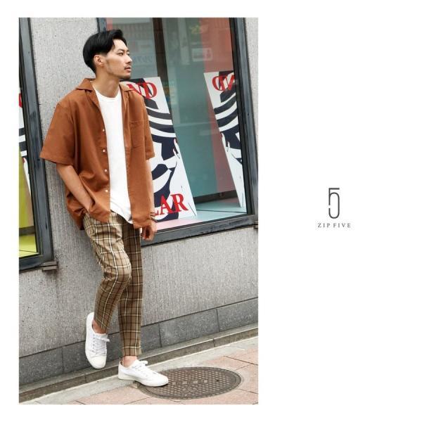 イージーパンツ メンズ アンクルパンツ スラックス 半端丈 ロングパンツ ストレッチ 無地 チェック ファッション (zp081829) D|zip|17