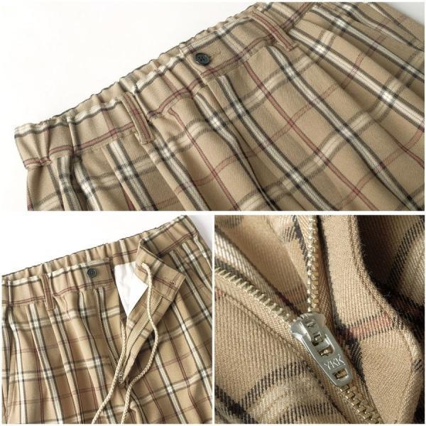 イージーパンツ メンズ アンクルパンツ スラックス 半端丈 ロングパンツ ストレッチ 無地 チェック ファッション (zp081829) D|zip|04