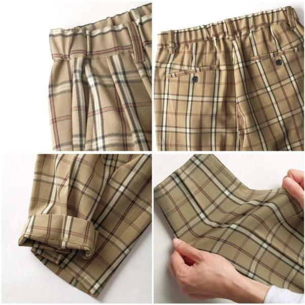 イージーパンツ メンズ アンクルパンツ スラックス 半端丈 ロングパンツ ストレッチ 無地 チェック ファッション (zp081829) D|zip|05