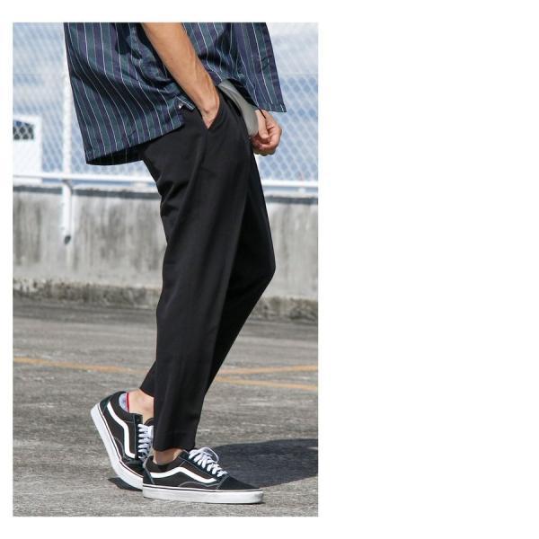 イージーパンツ メンズ アンクルパンツ スラックス 半端丈 ロングパンツ ストレッチ 無地 チェック ファッション (zp081829) D|zip|09