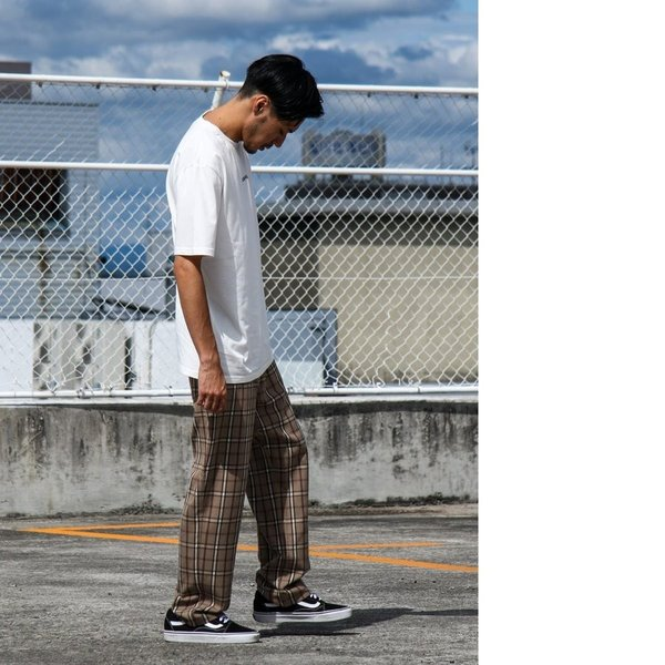 テーパードパンツ メンズ ワイドパンツ スラックス スーツ生地 ストレッチ 無地 チェック イージーパンツ ファッション (zp081830) D|zip|11