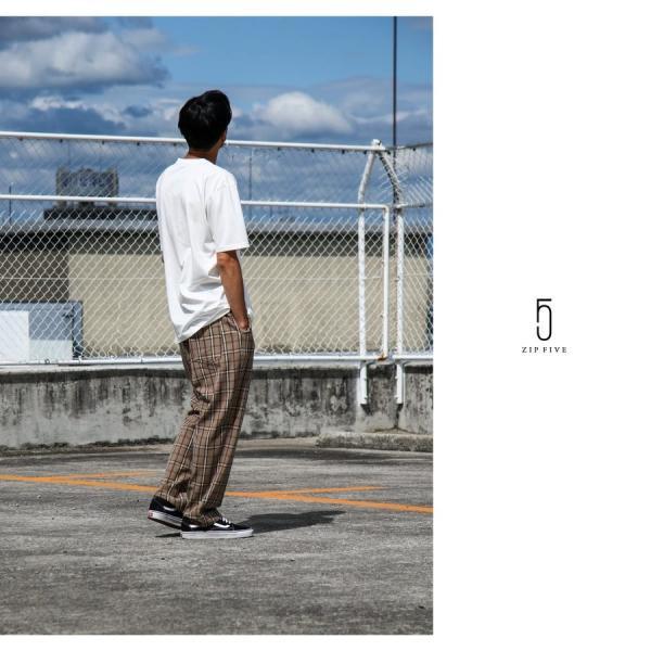 テーパードパンツ メンズ ワイドパンツ スラックス スーツ生地 ストレッチ 無地 チェック イージーパンツ ファッション (zp081830) D|zip|13