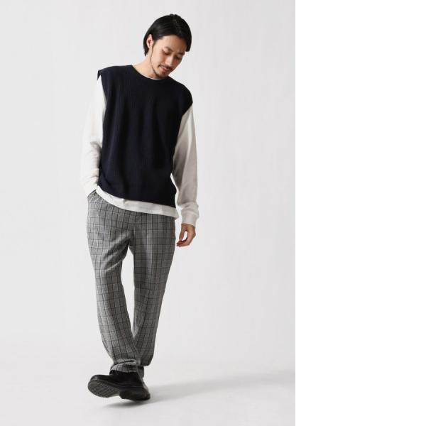 テーパードパンツ メンズ ワイドパンツ スラックス スーツ生地 ストレッチ 無地 チェック イージーパンツ ファッション (zp081830) D|zip|16