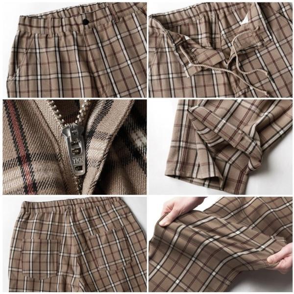 テーパードパンツ メンズ ワイドパンツ スラックス スーツ生地 ストレッチ 無地 チェック イージーパンツ ファッション (zp081830) D|zip|04