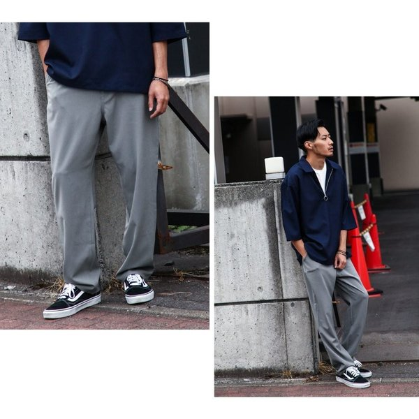テーパードパンツ メンズ ワイドパンツ スラックス スーツ生地 ストレッチ 無地 チェック イージーパンツ ファッション (zp081830) D|zip|09