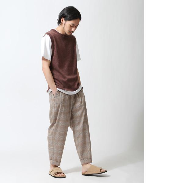 ベスト メンズ ニットベスト サマーニット ジレベスト ノースリーブ リネン 無地 チェック プルオーバー ファッション (zp319300)|zip|13