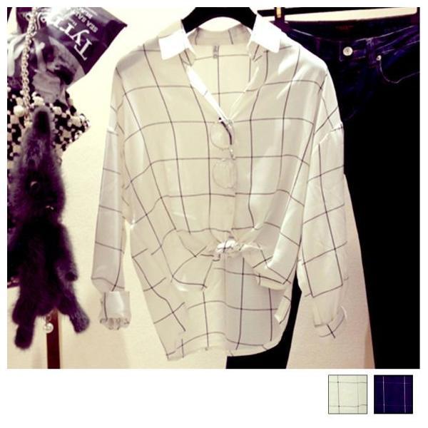 レディース トップス チェック チェックシャツ 定番 長袖 カジュアル シャツ 襟付き ネイビー ホワイト ボタン付き 大人かわいい