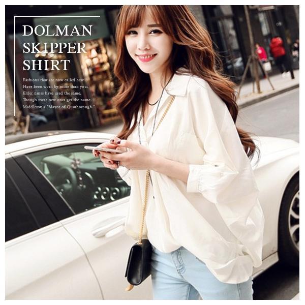 スキッパー ドルマン シャツ レディース トップス ブラウス 白シャツ 開襟シャツ 5分袖 とろみ素材 ゆるふわ 可愛い