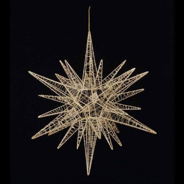 (クリスマス装飾品 星 オーナメント)60cmワイヤースパイクスター(グリッター) ゴールド(AB97)