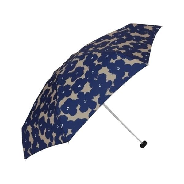 【晴雨兼用】ハナプリント 折りたたみ傘 ネイビー