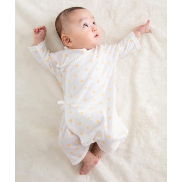 ひよこ柄のフライスコンビ肌着 ピュアベール天使のはぐ 新生児 日本製 肌着 ベビー