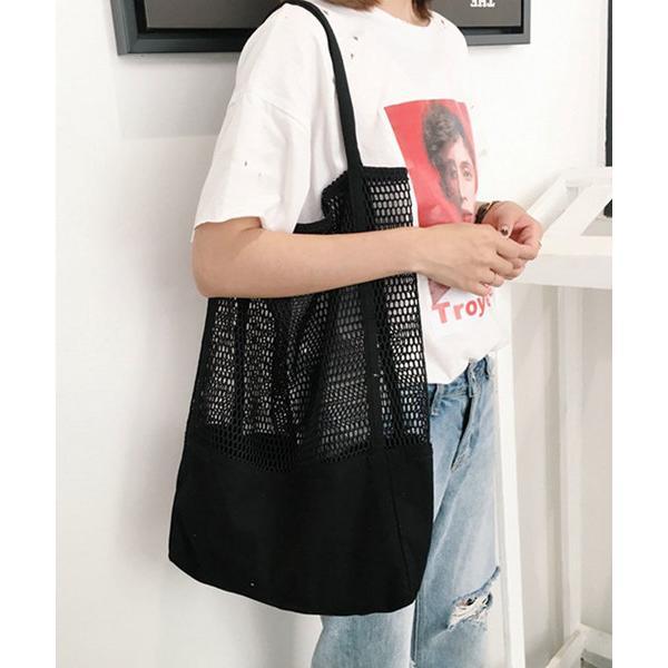 トートバッグバッグ無地コットン白・黒メッシュトートバッグ(A4サイズ収納可)
