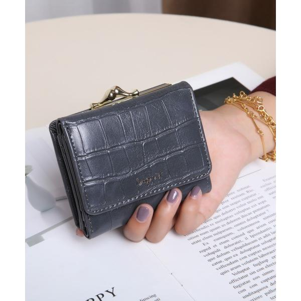 財布 Ungrid/アングリッド クロコ風型押しガマ口ウォレット
