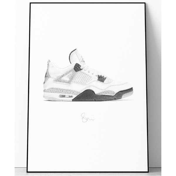 ポスター 『Steph f Morris』NIKE Air Jordan 4 OG 'WHITE CEMENT' / ナイキ エアジョーダン4OG ""