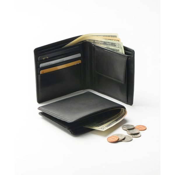 財布牛本革レザー隠しポケット付スリム二つ折り財布