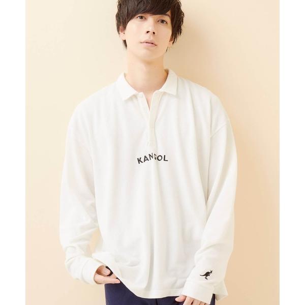 ポロシャツKANGOL/カンゴール別注ロゴ刺繍ビッグシルエットL/Sポロシャツ