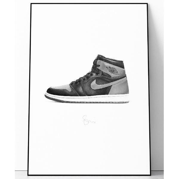 """ポスター 『Steph f Morris』NIKE Air Jordan 1'BRED' / ナイキエアジョーダン1 """"ブレッド"""" スニーカー 絵画"""