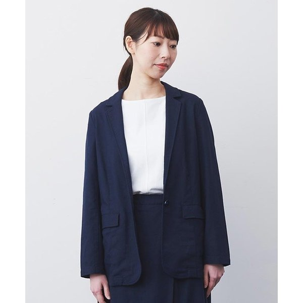 IEDIT リネン混素材で上質にこなれる きれい見えジャケット
