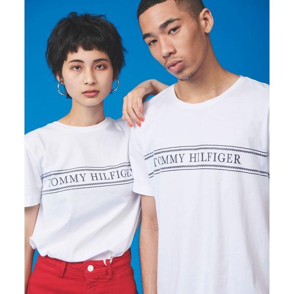 【オンライン限定】ロープ ストライプ ロゴ Tシャツ ロゴ Tee カットソー カジュアル 半袖 Tシャツ