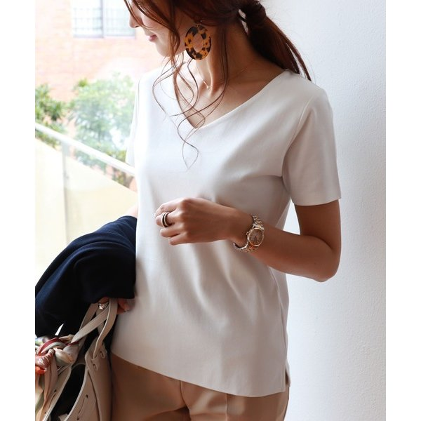 tシャツTシャツコットンVネック半袖ダブルフロントTシャツ