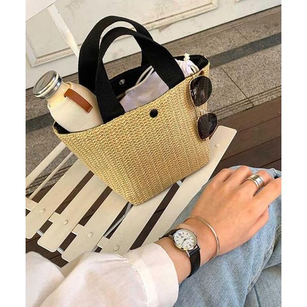 【MUSE】かごバッグ 編み込みバッグ ミニハンドバッグ