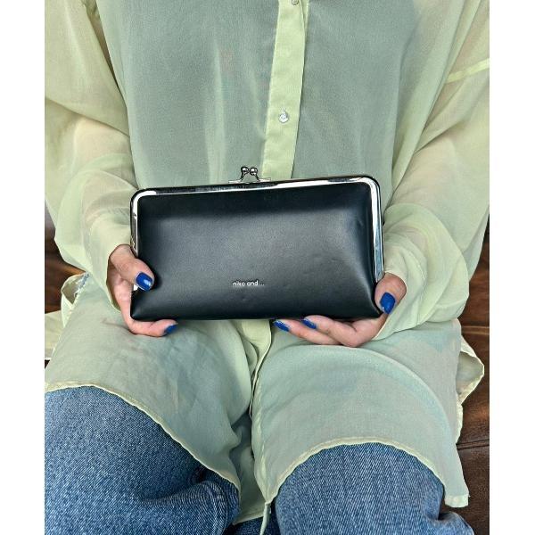 財布オリジナルロゴがま口ロングウォレット
