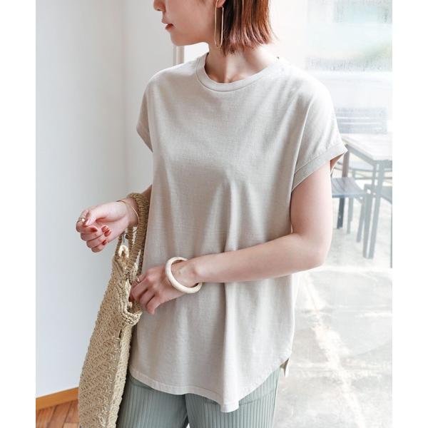 tシャツTシャツピグメント加工フレンチスリーブ裾ラウンドTシャツチュニック