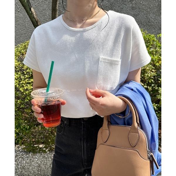 tシャツTシャツコットンワッフル半袖ドルマンポケット付きTシャツ