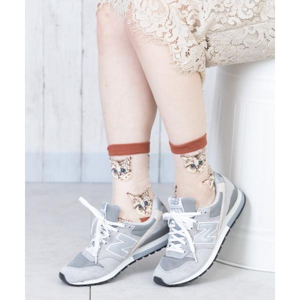 靴下レディース猫柄シースルーソックス(6色)