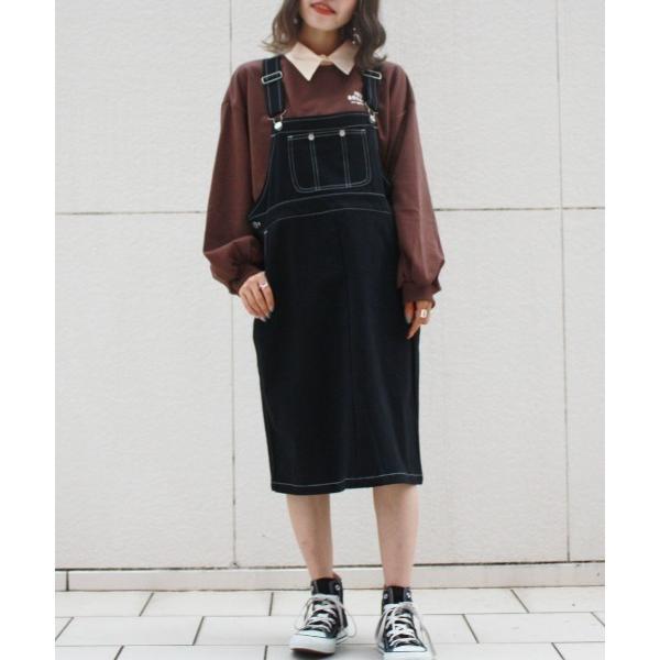 ワンピースジャンパースカート 8色  カラーステッチジャンパースカート