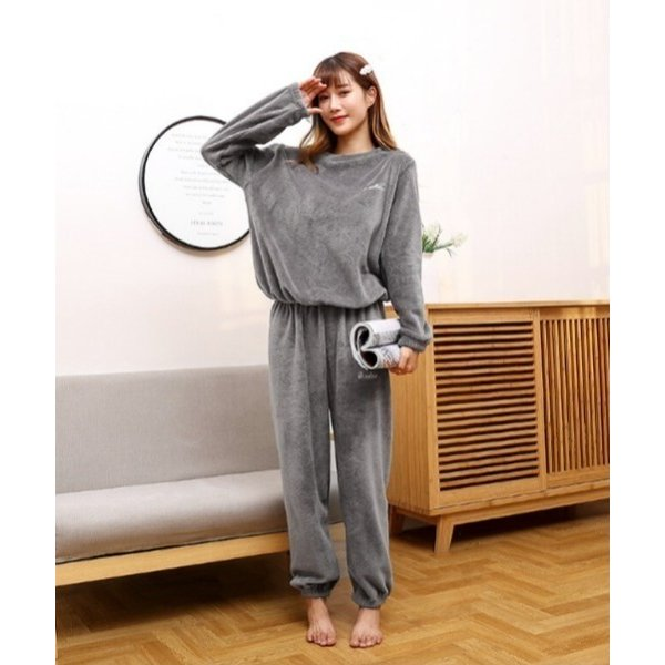 ルームウェアパジャマ超保温ルームウェア裏起毛上下セット