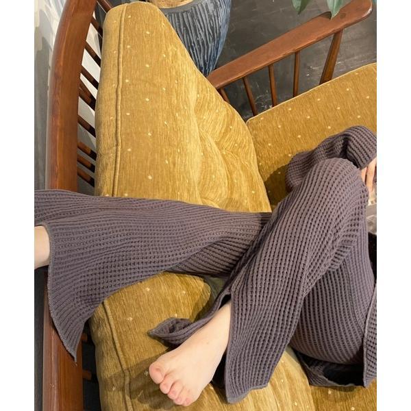 ルームウェアパジャマ柔らかワッフルコットンルームウェアワンマイルフレアスリットパンツ