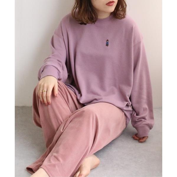 ルームウェアパジャマ 2点SETルームウェア 裏毛プルオーバー+カットコールパンツ