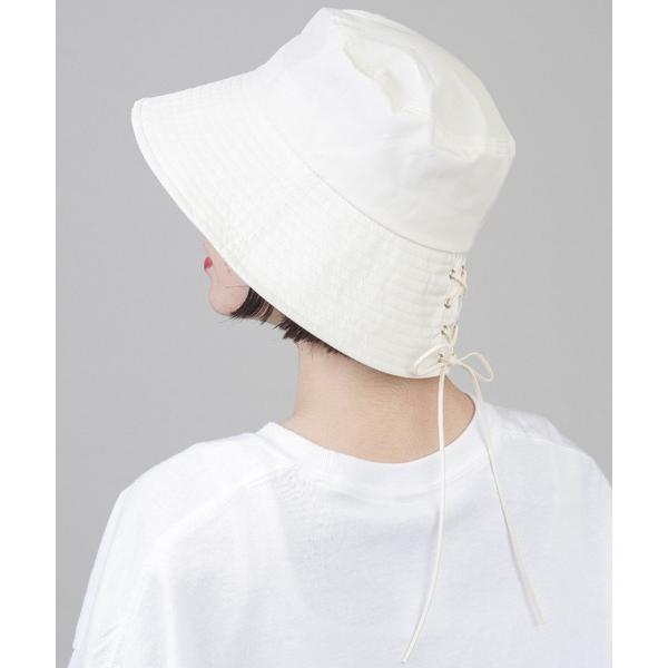 帽子ハットバックレースアップデザインナイロンバケットハット
