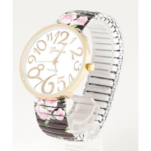 腕時計レディース腕時計花柄ジャバラベルト大きめ文字盤