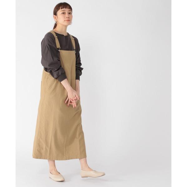 サロペットオーバーオール綿麻マキシジャンパースカート