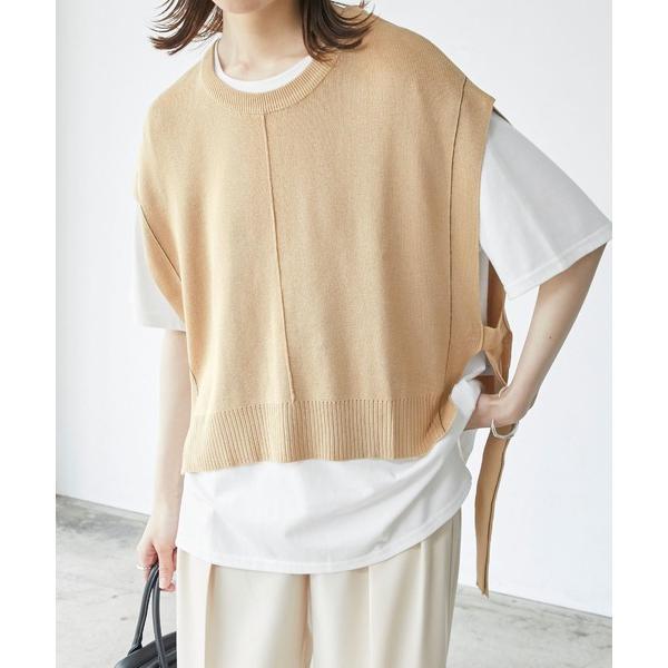 tシャツTシャツニットベストレイヤード半袖Tシャツ