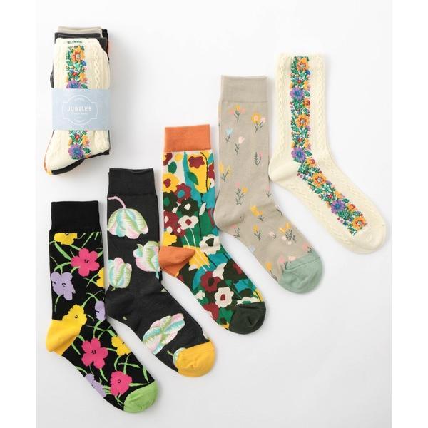 靴下花柄デザインユニセックスソックス5足セット