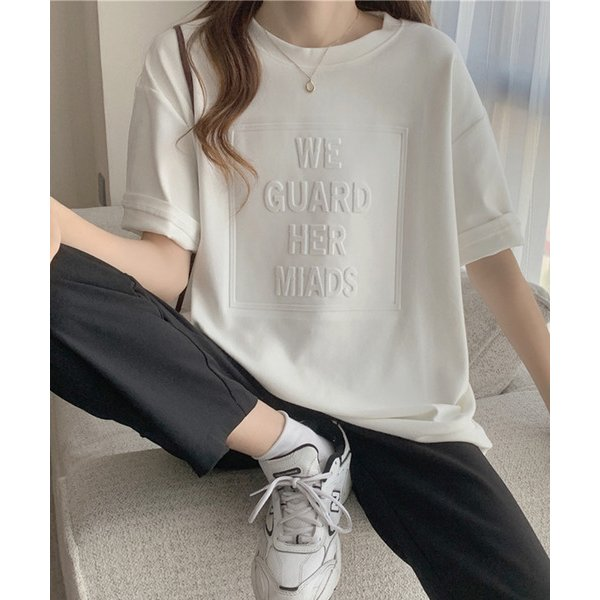 tシャツTシャツエンボス加工ロゴTシャツ