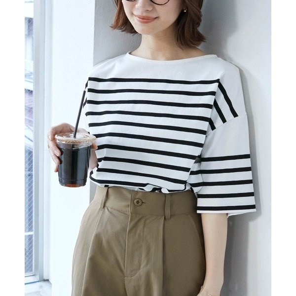 tシャツTシャツパネルボーダーボートネックカットソー半袖Tシャツ