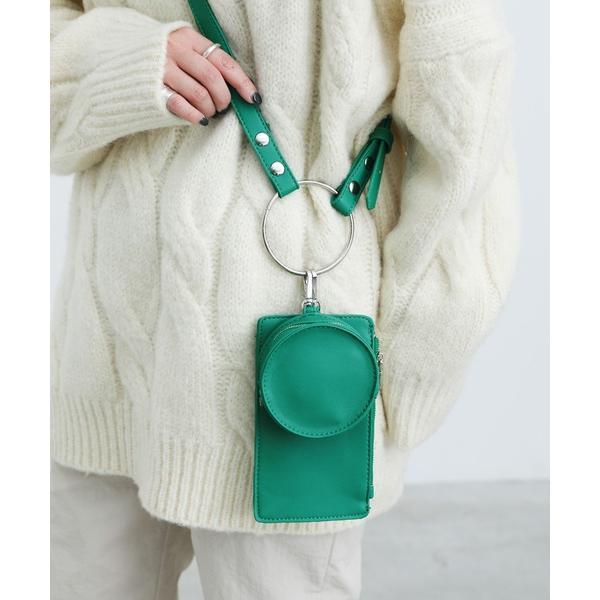ショルダーバッグバッグ異素材フェイクレザーリングミニショルダーバッグセット