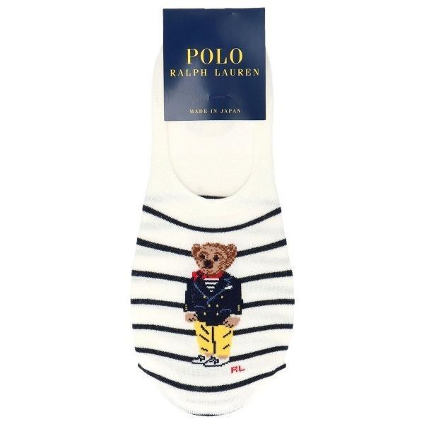 靴下POLORALPHLAURENレディース日本製かかと滑り止め付きマリンベアボーダー柄深履きカバーソックス03207832