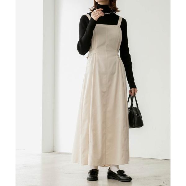 ワンピースジャンパースカートサイドベルト付きフレアジャンパースカート