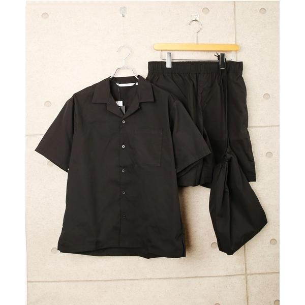 ルームウェアパジャマ3点セット半袖開襟シャツショートパンツ収納バッグセットアップ
