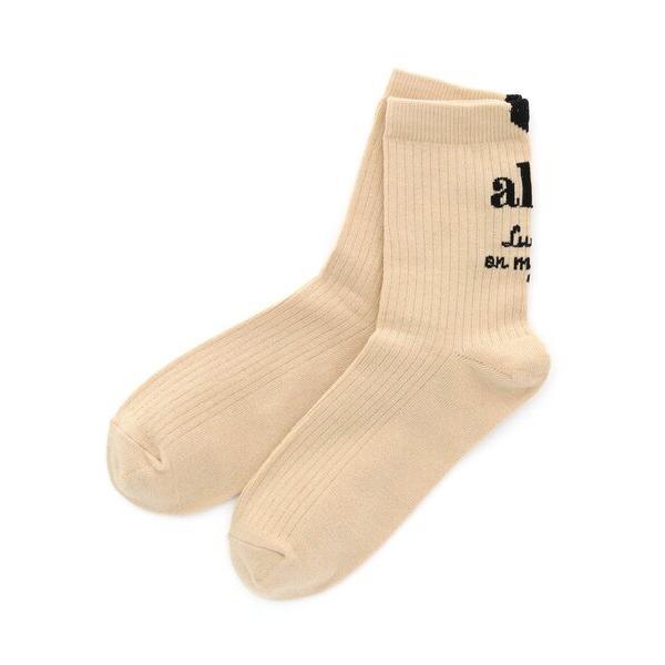 靴下抗菌防臭ガーリーロゴクルーソックス